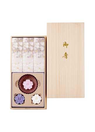宇野千代のお線香 淡墨の桜 桐箱浮きローソクセット